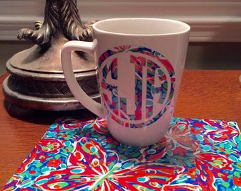 Lilly 'inspired' Monogrammed coffee cup, Gift coffee cup