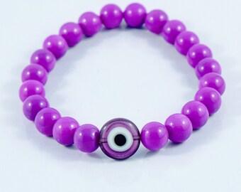 Violet Evil Eye Bracelet - Purple Evil Eye Bracelet - Protection Bracelet - Greek Bracelet - Stretchy Evil Eye Bracelet - Elastic Evil Eye