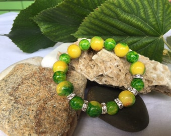 Beaded Bracelet, Green-Yellow Beaded Bracelet