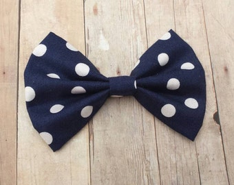 Navy Blue & White Polka Dot Hair Bow Clip or Headband / Polka Dot Hair Bow / Navy Blue Hair Bow/ Dark Blue Bow/ Blue Bow Clip/ Polka Dot Bow