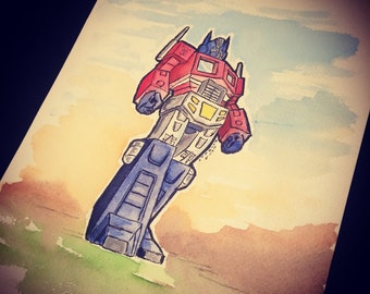 Optimus Prime original watercolor illustration