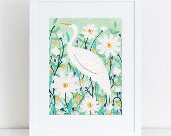 Elegant Stork Giclee Print | A3 Print | Nursery Print | Nursery Gift | Kids Room | Bird Art | Nursery Wall Art | New Baby Gift | Baby Shower