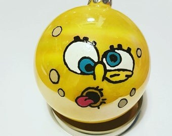 Hand painted spongebob Christmas bauble decoration.