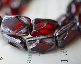 Fiery Diamonds, Rectangle Beads, Czech Beads, N1860