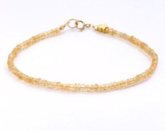 Citrine bracelet;Gemstone bracelet;Beaded bracelet;Citrine;Yellow bracelet;Birthstone;November birthstone;Stacking bracelet;BFF gift;Gold