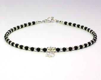 Black agate and sterling silver bracelet, black and silver bracelet, Delicate bracelet, Beaded bracelet,  Sterling silver clasp, BFF gift