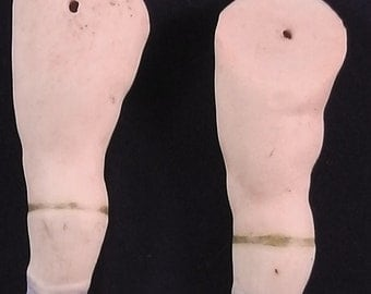 antique german bisque doll legs, wire fixing, painted shoes, 2.27""