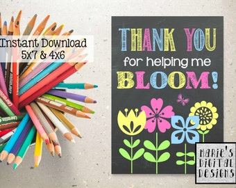 INSTANT DOWNLOAD - Printable Teacher Appreciation Card / Thanks For Helping Me Bloom! Chalkboard Thank You Card / Gift JPEG