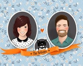 Custom couple portrait with a pet, card or poster (printable personalized art, on mint background, digital file)