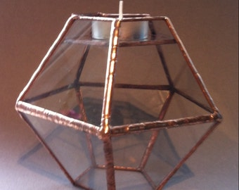 Geometric glass candle holder, copper tealight holder, geometric glass table decor, modern table centrepiece
