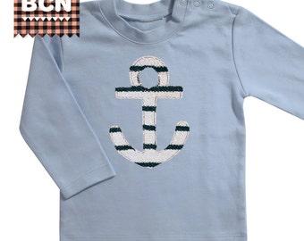 Boy t-shirt, shirt, girl, baby, long sleeve, anchor, sailor, blue, cotton