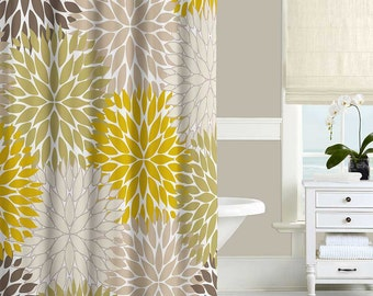Floral Shower Curtain  Dahlia Mustard Yellow Green Brown Beige Gray Bathroom Navy Blue and