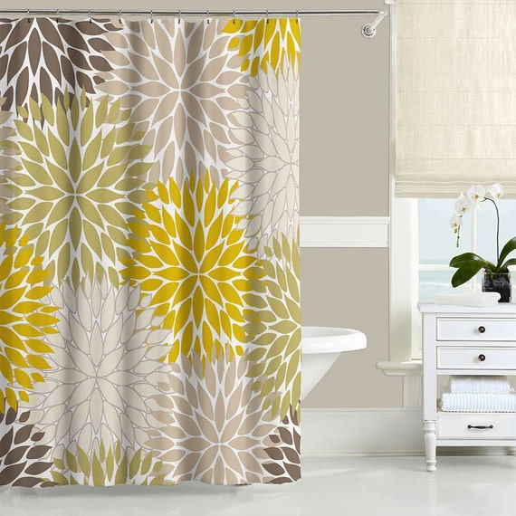 floral shower curtain dahlia mustard yellow brown beige gray