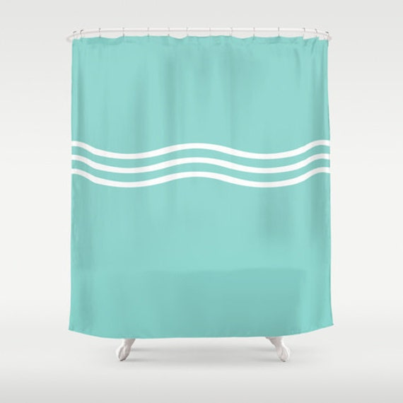 Turquoise shower curtain turquoise and white by for Turquoise blue bathroom accessories
