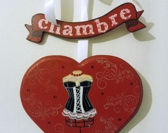door plate 100% handmade - decorative corset - Door plate Wooden room - red
