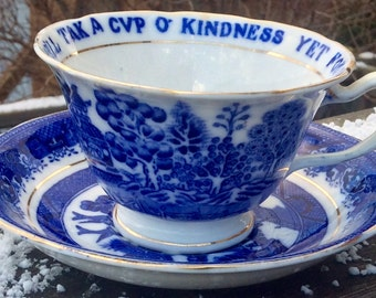 Rare: Williamson & Sons 1903 Auld Lang Syne Willow Teacup and Saucer