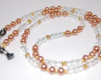 EyeGlass Chain,Glass Pearls Beads,Eyeglasses Necklace,Beaded Glasses Holder,Glass Chain,ID Lanyard,Gift for Her.beaded eyeglass,Boho,Elegant