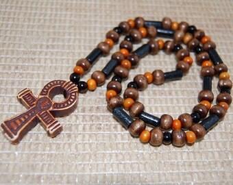 Ankh Cross Necklace,Wood Necklace,Ankh Cross Pendant,Ankh Cross,Key of the Nile,Key of Life,Crux Ansata,Man,Woman,Egyptian God Goddess,Gift
