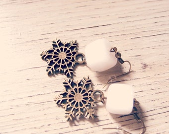 Snowflake Pendant Earrings-Valentine's gift idea-gift for girlfriend-long snowflake earring