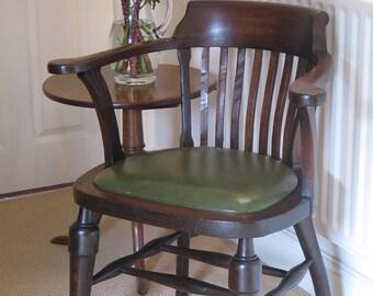 1940s George VI Windsor Smoker's Bow Captain's Desk Chair