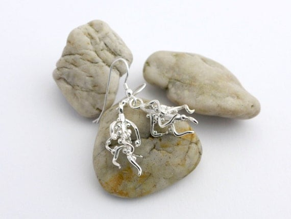 Nodulated Plant Root Earrings-Science Jewelry in bronze, brass & silver