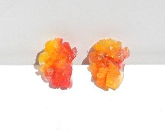 Sugar Crystal Pink & Orange Resin Earrings