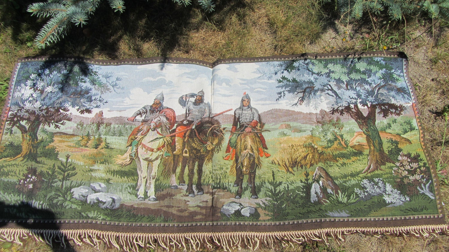 Three Heroes Tale German VIntage ?overlet Gobelin, Wall decor Gobelin, German vi