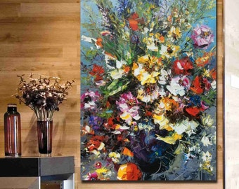 Hand painted Oil painting-Flowers-Original Modern abstract palette knife painting on canvas-Decorative Wall fine art-#152