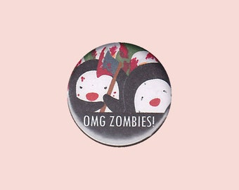 Zombie Penguin Badge - penguin pin, zombie pin, penguin button, zombie badge, zombie apocalypse, cute zombie, kawaii pin, kawaii button