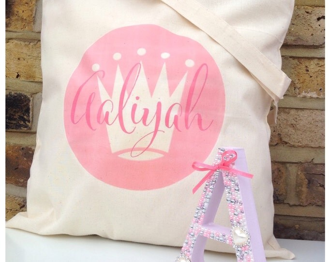 Personalised tote bag, available in any colour, cotton. Children's gift, wedding gift bags, bridesmaid, flower girl