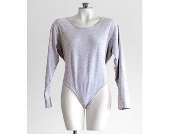 80s heather gray long sleeve bodysuit