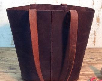 Sale!! Bucket bag tote bag leather shopper bag Dark brown leather tote bucket Shopper leather bag Handmade tote