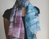 SALE 40% Hand Painted Silk Scarf - purple shades violet and prussian blue 100 Percent silk