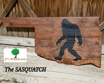 "Oklahoma Shaped Sasquatch - Big Foot- Wall Sign 35""x18"" - Hand Painted"