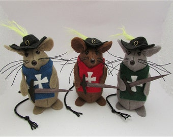 Musketeer Mousketeer Mice Mouse - Felt Mice - Felt Mouse - Musketeer Ornament