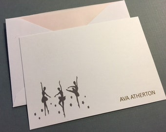 Personalized Flat Cards- Ballerina 3 1/2 x 5