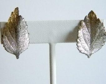 Silver Metallic Look Leaf Leaves Clip Earrings