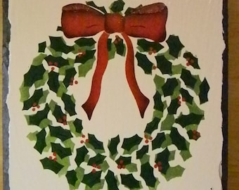 Hand Crafted NOEL Holiday Christmas Wreath Wall Hanging Plaque on Gray Slate