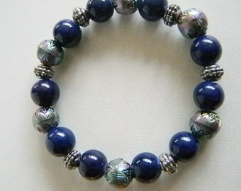 Blue Purple Metallic Acrylic Beaded Stretchy Bracelet