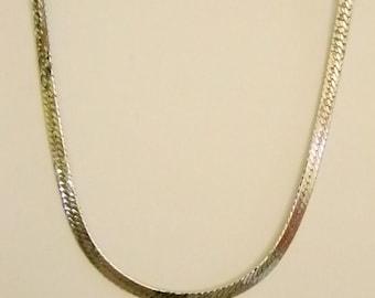 Silver Tone Finish Herringbone Chain Necklace