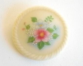 SALE !!!!      AVON Round Ceramic Bouquet Pink Blue Flowers Pin Brooch