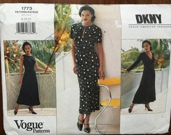 Vintage Vogue Pattern 1773 American Designer DKNY Dress size 8-10-12 Uncut Donna Karan 1930s Feminine Romantic Dress