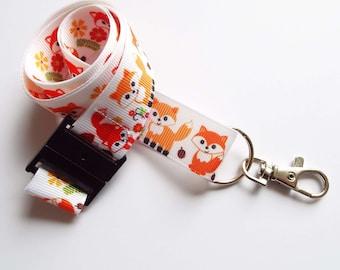 Foxes - Handmade Ribbon Lanyard/ Keychain/ ID Holder/ Phone /Whistle