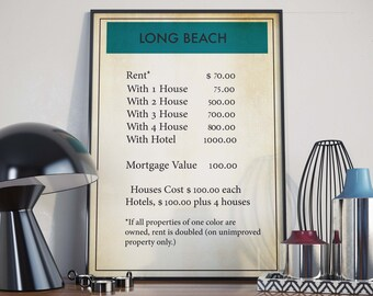 Board Game Poster| Monopoly| Long Beach| Long Beach Poster| Board Games| Monopoly Poster| Monopoly Gift| Monopoly Art| Board Game Wall Art