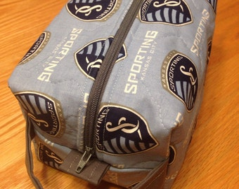 Quilted Boxy Pouch Makeup/Shaving Bag Travel Sporting KC Soccer