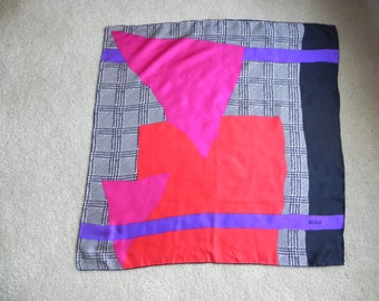 1980's Bill Blass Designer Color Block Square Silk Scarf Red Black Purple White Pink