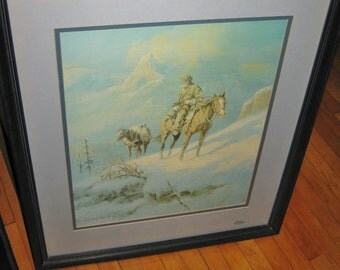 """Vintage  Olaf Wieghorst numbered  framed matted print Rocky Mountain Trapper 19"""" X 23"""""""
