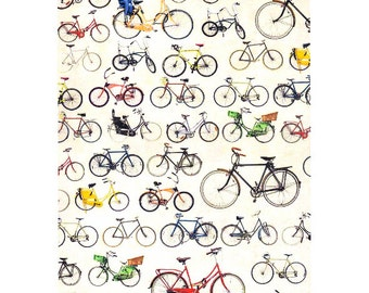 Decoupage Paper, Scrapbook paper, Bicycle, bicycles, bike, bicycle pattern, small bicycles, die cuts, cutouts, card topper, collage sheet,