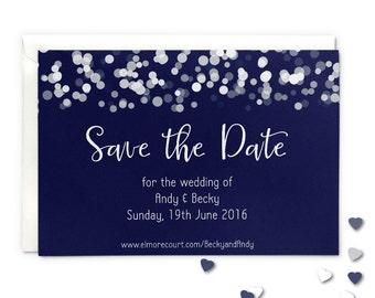 Save the date wedding magnet or card, glittering lights design, navy blue