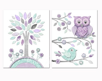 room decor baby girl wall artwork for kids mint purple owl baby shower